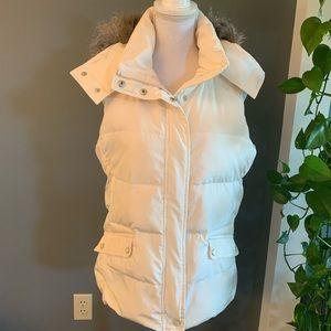 Talbots White Down & Faux Fur Puffer Vest~Size S